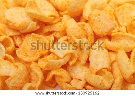 Crispy Potato Chips, closeup background