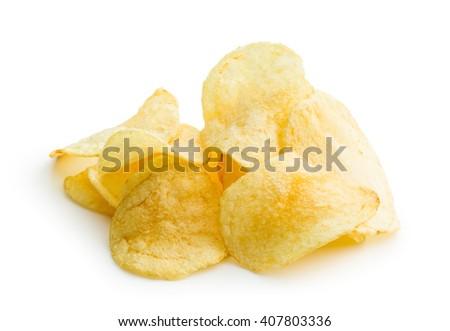 Crispy potato chips on white background - stock photo