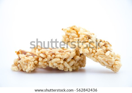 crispy rice snack food for healthy and diet  on white background