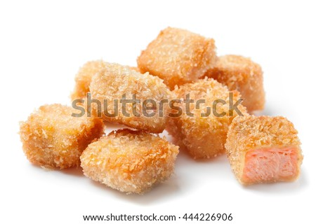 crispy salmon fish nuggets isolated on white