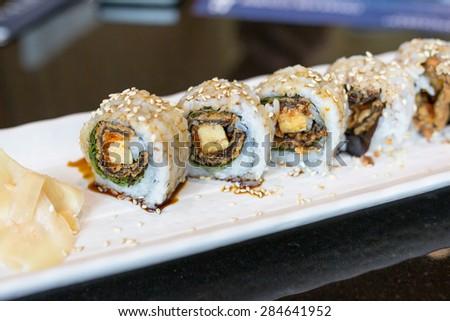 Crispy Salmon Roll - stock photo