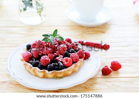 crispy tartlet with berries, foode - stock photo