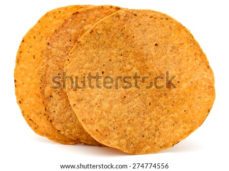 crispy tortilla chips on white background - stock photo
