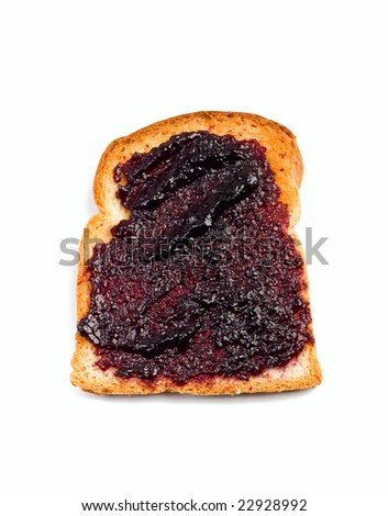 crispy white bread toast with berries spread isolated on white background - stock photo