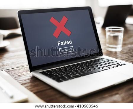 Crisscross Icon Failed Message Concept - stock photo