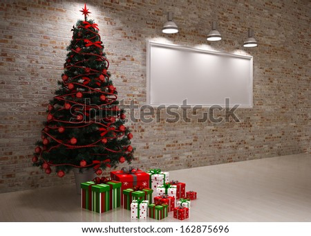 Cristmas Banner on wall with Christmas tree & gifts