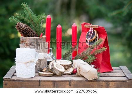 Cristmas candle decoration - stock photo
