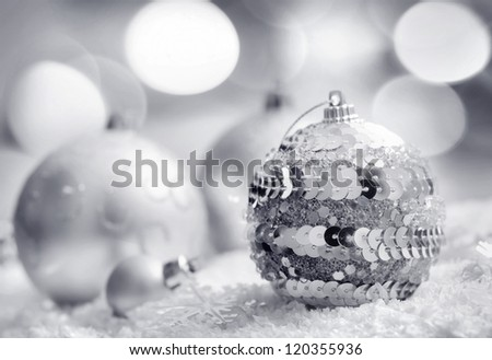 Cristmas decoration, blue ball on blue background - stock photo