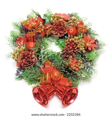 cristmas wreath isotated on white background - stock photo