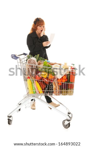 Critical costumer reading receipt from groceries in supermarket
