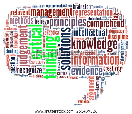 Critical thinking in word collage - stock photo
