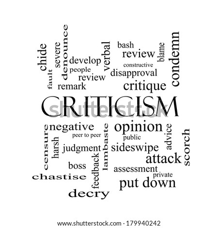 Criticism Word Cloud Concept in black and white with great terms such as opinion, blame, critique and more. - stock photo