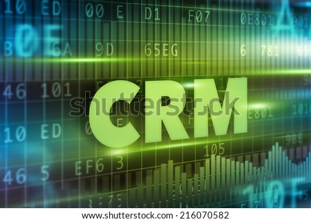 CRM - Customer Relationship Management concept green text - stock photo