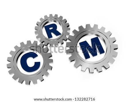 CRM, customer relationship management - letters in 3d silver grey gearwheels, business concept - stock photo