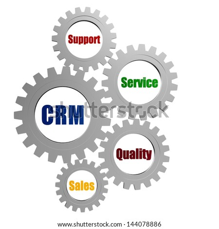 CRM, support, service, quality, sales - words in 3d silver ...
