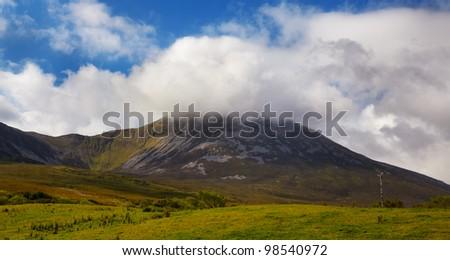 Croagh Patrick summit in summertime, county Mayo, Ireland. - stock photo
