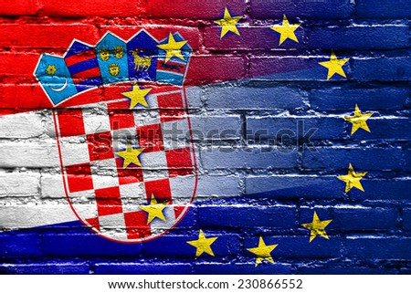 Croatia and European Union Flag painted on brick wall