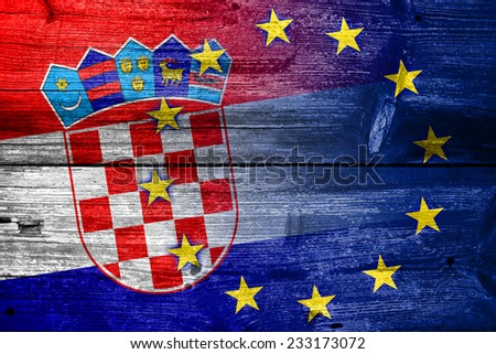 Croatia and European Union Flag painted on old wood plank texture