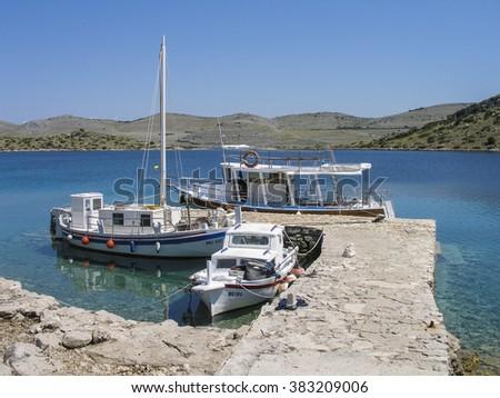 Croatia - beautiful Mediterranean coast landscape in Dalmatia - Kornati - stock photo