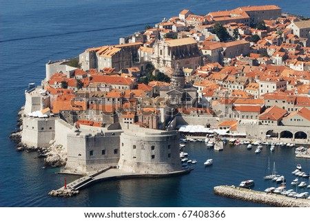 Croatia, Dubrovnik. The top view of the old town - stock photo