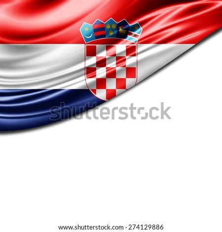 Croatia flag and white background  - stock photo