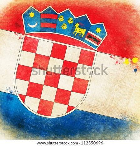Croatia flag ,grunge and retro flag series - stock photo
