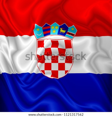 Croatia Flag Waving Digital Silk Fabric
