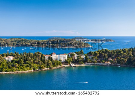 Croatia Islands and Adriatic Sea. Aerial View from Rovinj Belfry. Bright Summer Day - stock photo