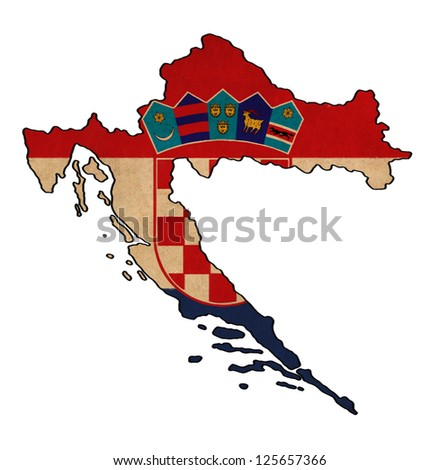 Croatia map on Croatia flag drawing ,grunge and retro flag series - stock photo