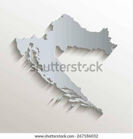 Croatia map white blue card paper 3D raster - stock photo