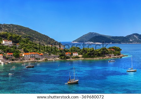 Croatia. South Dalmatia - Elaphiti Island. The island of Kolocep (Kalamota, Calamotta) situated near Dubrovnik city. Donje Celo settlement - stock photo