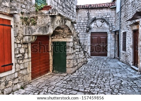 Croatia - Trogir in Dalmatia (UNESCO World Heritage Site). Old town detail. - stock photo
