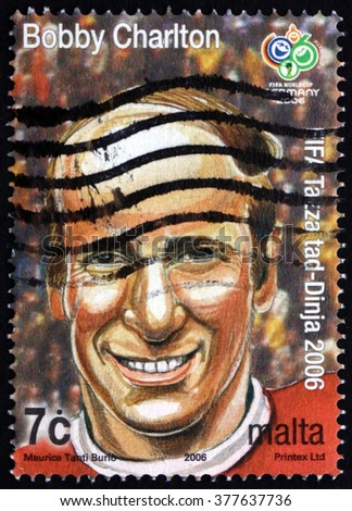CROATIA ZAGREB, 7 FEBRUARY 2016: a stamp printed in Malta shows Bobby Charlton, Soccer Player, circa 2006