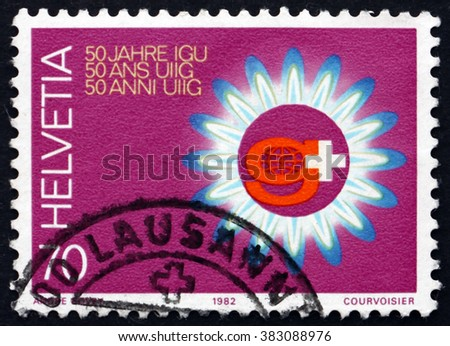 CROATIA ZAGREB, 7 FEBRUARY 2016: a stamp printed in Switzerland dedicated to International Gas Union, 50th Anniversary Convention, Lausanne, circa 1982 - stock photo