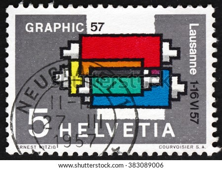 CROATIA ZAGREB, 7 FEBRUARY 2016: a stamp printed in Switzerland shows Inking Device, Printing Machine, International Exhibition for Graphic Arts, Lausanne, circa 1957 - stock photo