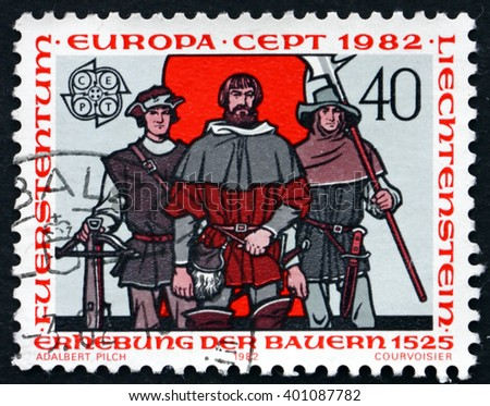 CROATIA ZAGREB, 21 FEBRUARY 2016: a stamp printed in the Liechtenstein dedicated to Peasants' Uprising, 1525, circa 1982 - stock photo
