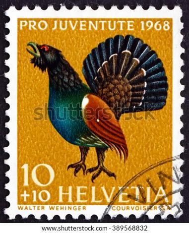 CROATIA ZAGREB, 7 FEBRUARY 2016: a stamp printed in the Switzerland shows Capercaillie, Tetrao Urogallus, Bird, circa 1968 - stock photo
