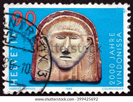 CROATIA ZAGREB, 7 FEBRUARY 2016: a stamp printed in the Switzerland shows Gallic Head, Vindonissa Bimilennium, circa 1986 - stock photo