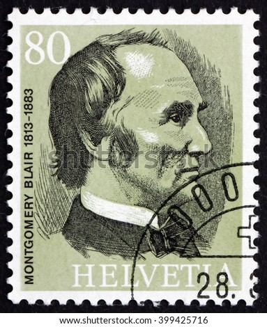 CROATIA ZAGREB, 7 FEBRUARY 2016: a stamp printed in the Switzerland shows Montgomery Blair, the Founder of the UPU, circa 1974 - stock photo