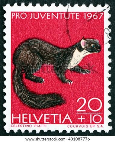 CROATIA ZAGREB, 7 FEBRUARY 2016: a stamp printed in the Switzerland shows Pine Marten, Martes Martes, Animal, circa 1967 - stock photo