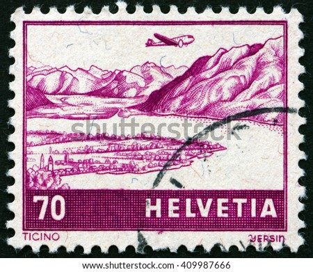 CROATIA ZAGREB, 21 FEBRUARY 2016: a stamp printed in the Switzerland shows View of Ticino, circa 1941 - stock photo