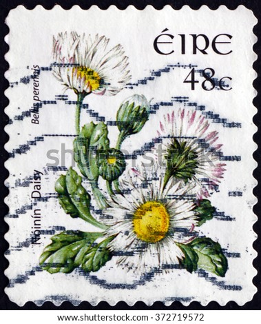 CROATIA ZAGREB, 30 JANUARY 2016: a stamp printed in Ireland shows Daisy, Bellis Perennis, Flowering Plant, circa 2004 - stock photo