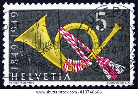 CROATIA ZAGREB, 28 MARCH 2016: a stamp printed in the Switzerland shows Post Horn, Symbol, circa 1949 - stock photo