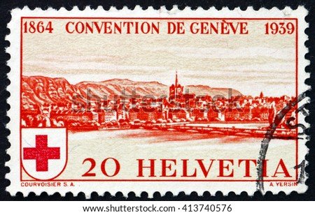 CROATIA ZAGREB, 28 MARCH 2016: a stamp printed in the Switzerland shows View of Geneva, 75th Anniversary of the Founding of the International Red Cross Society, circa 1939 - stock photo