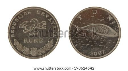 Croatian Kuna coins isolated on white - stock photo