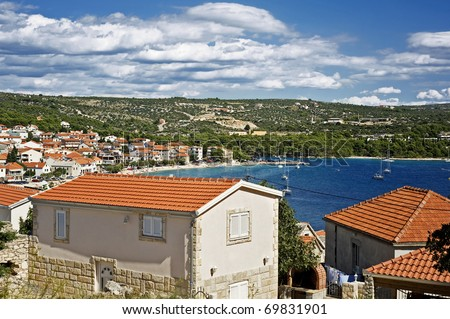 croatian landscape, roofs of primosten town, europe
