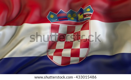 Croatian national flag waving in the wind 3d rendering - stock photo