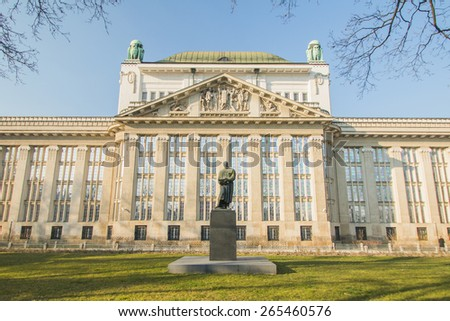 Croatian National State Archives building in Zagreb, built in 1912 in secession style - stock photo