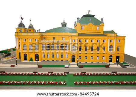 Croatian National Theater building made of lego blocks - stock photo