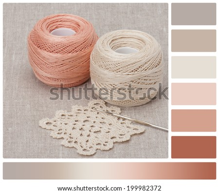 Crochet Lace And Threads. Natural Linen Background. Palette With Complimentary Colour Swatches. - stock photo
